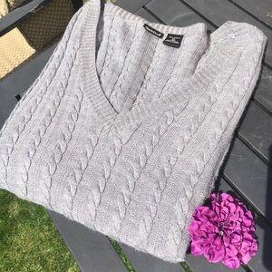 North Crest Gray Acrylic V Neck Sweater